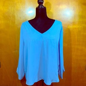 Lilly White v neck Long Sleeve Blue Solid Blouse